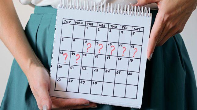 מחזור חודשי, אי סדירות. אילוסטרציה